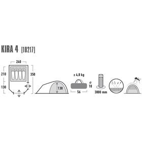 High Peak Kira 4 Tiendas de campaña, dark grey/red